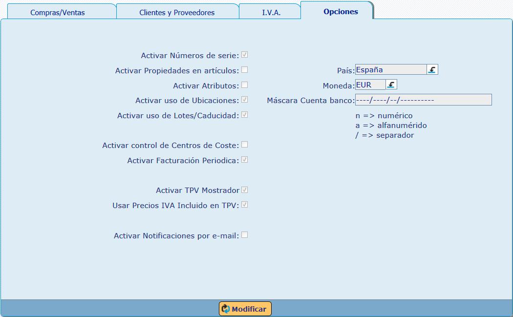 Opciones de Personalización